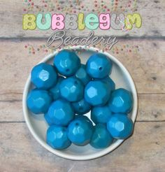 24mm Custom Dyed Solid Faceted Turquoise Acrylic Beads 10 beads - Chunky Acrylic Beads, Bubblegum Beads, Gumball Beads