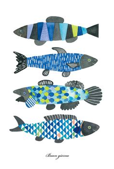 Illustration Art, Illustrations, Fish Print, Fish Design, Art Plastique, Art Lessons, Watercolor Paintings, Watercolour, Art For Kids