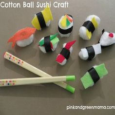 Pink and Green Mama: Cotton Ball Sushi Craft. Girl Scout Swap, Girl Scout Troop, Girl Scouts, Scout Leader, Hat Crafts, Crafts To Make, Arts And Crafts, Food Crafts, Kids Crafts