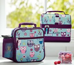 Mackenzie Turquoise Owl Lunch Bags | Pottery Barn Kids