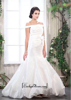 Adorable Taffeta Mermaid Off-the-shoulder Neckline Raised Waist Bridal Dress
