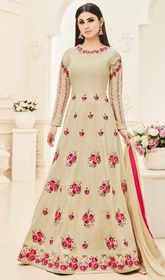 New arrivals of bollywood actresses designer salwar suits. Shop this classy Mouni Roy embroidered and resham work floor length anarkali suit for festival and party. Silk Anarkali Suits, Anarkali Dress, Lehenga, Long Anarkali, Anarkali Churidar, Designer Salwar Suits, Designer Anarkali, Indian Dresses, Indian Outfits