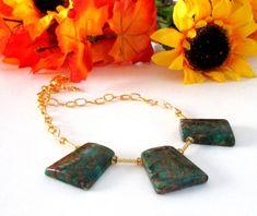 Composite Golden Quartz Trapezoid  Green Gemstone by BijiJewelry
