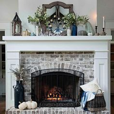 30 Interesting Fireplace Makeover For Farmhouse Home Decor. If you are looking for Fireplace Makeover For Farmhouse Home Decor, You come to the right place. Below are the Fireplace Makeover For Farmh. Brick Fireplace Makeover, Home Fireplace, Living Room With Fireplace, Fireplace Design, Fireplace Ideas, Fireplace Hearth Decor, Mantle Ideas, White Wash Brick Fireplace, Painted Brick Fireplaces