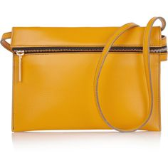Leather shoulder bag ($450) ❤ liked on Polyvore featuring bags, handbags, shoulder bags, clutches, purses, genuine leather handbags, hand bags, yellow leather purse, yellow leather handbags and yellow handbags