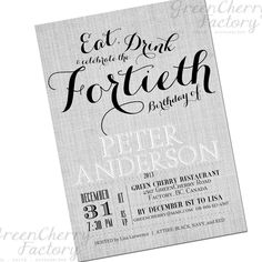 Milestone Adult Birthday Invitation - Vintage Canvas Background - Eat, Drink and Celebrate the 30th 40th 50th 60th 70th - No.20. $18.00, via Etsy. Vintage Invitations, Birthday Invitations, Invites, Cherry Restaurant, 40th Birthday Parties, Birthday Ideas, Cigar Party, Canvas Background, Party
