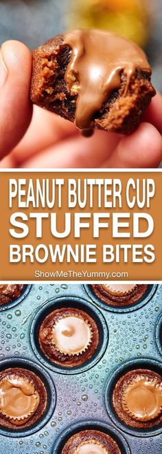 These peanut butter cup stuffed brownie bites are oogey gooey at it's finest! showmetheyummy.com #brownies #peanutbutter
