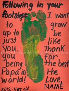 Following in Daddy's Footsteps - Father's Day Footprint Craft. Aww.    #fathersday #kidscrafts #footprints #kidscrafts #homemadegifts