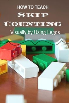 How to Teach Skip Counting Visually by Using LEGOS.  What you need is two different color Lego's, about 10 of each color. If you have more of one color then the other that's fine. Take your Lego's and place then in two piles separated by color. For our lesson we used green and white. You can substitute for what color you want.  Read more at:  http://www.thefragglemomma.com/homeschooling/pre-k-homeschool-ideas/how-to-teach-skip-counting-using-legos/