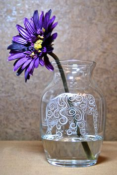 Glass Etched Vase with Elephant Etched Glass by MyDaileyCreations