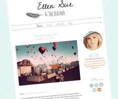 WordPress Theme - Premade Blog Design - Simple Blog Template  - Hand Drawn Feather - Cute Orange and Turquoise  - Ellen Sue