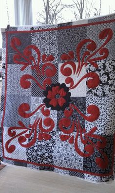 """Lady Madonna in Red"" (posted to Quilting Board by Bamamama)"