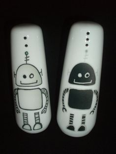 """Tall 'Bots"""" salt and pepper shakers"""