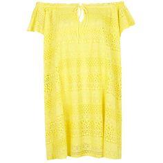 Topshop Lace Off the Shoulder Dress ($35) via Polyvore featuring dresses, scalloped dress, off shoulder dress, off the shoulder lace dress, yellow dress и topshop dresses