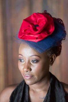 Stunning Red Floral Headpiece/ Hair Accessory/ Hat./ by Xharisma, $120.00