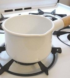 enamel pot with wooden handle!