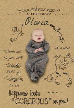 Geboortekaartje Olivia - handwriting voor
