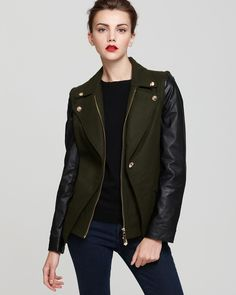 Sam Edelman Convertible Jacket with Leather Sleeves | Bloomingdale's