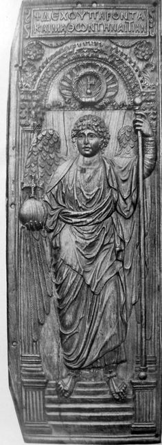 Part of diptych with an archangel. 6th c. AD. London. Photograph from Ludwig von Sybel, Christliche Antike, vol. 2, Marburg, 1909.