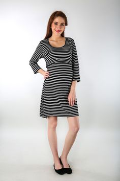 6a4712abfb0c9 Black & White Striped Maternity & Nursing Dress Maternity Nursing Dress, Nursing  Wear, Maternity