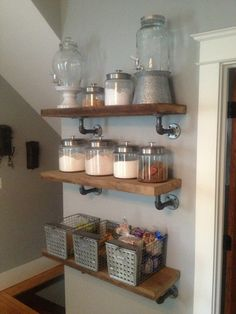 3' Industrial Shelf by JessiandCompanyLLC on Etsy. Maybe something to try DIY?