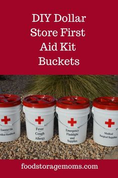 First Aid Kit Buckets - Food Storage Moms This is a fairly inexpensive way to get started with your emergency preparedness supplies. Start with some buckets and fill them when your budget allows Emergency Preparedness Checklist, Emergency Preparedness Food, Emergency Preparation, Emergency Supplies, Survival Prepping, Survival Skills, Survival Supplies, Survival Food Kits, Emergency First Aid Kit