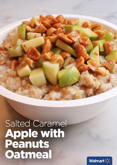 Salted Caramel Apple with Peanuts Oatmeal | Walmart – Change up your morning oatmeal routine with these unique flavors. With just the right amount of sweet and savory, you'll never eat plain oatmeal again!