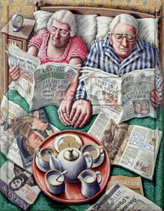 Sunday Morning Tea (Reading in Bed) Giclee Print at AllPosters by P. Vieux Couples, Old Couples, Sunday Readings, Growing Old Together, The Golden Years, Image Digital, Reading In Bed, Pics Art, Love Book