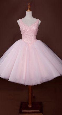 Short V Neckline Pink Beaded Ball Gown Tulle Prom Dress
