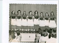 St. Patrick's Day evening event for school class of gals many years ago.  The costumes are made of crepe paper by our mothers.  Need I add we did the 'Irish Jig'...  Cookie :)