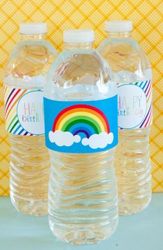 Rainbow Party PRINTABLE Drink Labels INSTANT by lovetheday on Etsy, $10.00