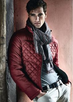 Red Quilted Jacket, Fabio Mancini and Tomas Skoloudik for Armani Jeans. Men's Fall winter Fashion.