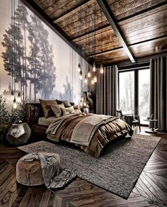 How do you like this bedroom design? A room should never allow the eye to settle in one place. It should smile at you and create fantasy home decor decoration salon decoration interieur maison Teenage Room Decor, Industrial Bedroom Design, Rustic Bedroom Design, Bedroom Designs, Modern Industrial, Rustic Modern, Modern Luxury, Bed Designs, Industrial Living