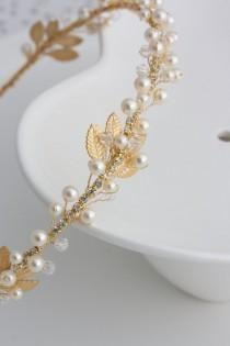 Gold Bridal Headband Pearl Headpiece Matt Gold Leaf Headband Delicate Simple Wedding Hair Accessory  EDERA