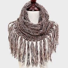 Fringe Knit Scarf (Multiple Colors Available)
