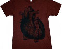 Mens Vintage ANATOMICAL HEART american apparel T-Shirt S M L XL (Heather Cranberry) Custom Shirt Colors $24