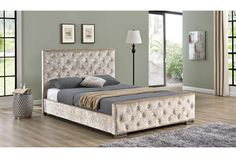 Beaumont Diamante Crushed Champagne Gold Fabric Upholstered Velvet Bed