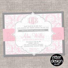 Monogram Pink Grey Damask Chic Baby Shower Invitation - Digital File (CAN CHANGE