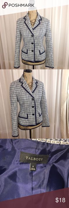 Talbots tweed blazer Blue tweed blazer with navy blue trim. Fully lined. Great office attire. Talbots Jackets & Coats