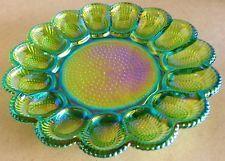 VINTAGE IRIDESCENT HOBNAIL GREEN CARNIVAL GLASS DEVILED EGG PLATE EUC