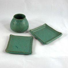 Stoneware Pottery Trays and Jar Set by CrookedCreekStudio1 on Etsy, $18.00