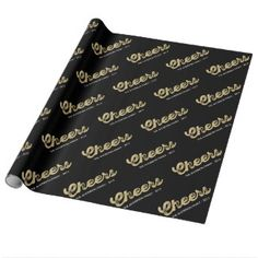 Gold Glitter Cheers Chic Holiday Custom Name Gift Wrap by fatfatin