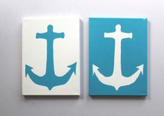 Mirrored Anchor Paintings On Canvas sea blue by ColorOnTheWalls, $26.00