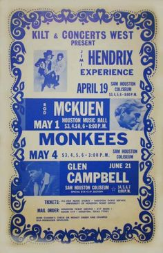 1968.  Hendrix, the Monkees, Rod McKuen and Glen Campbell listed on the same poster