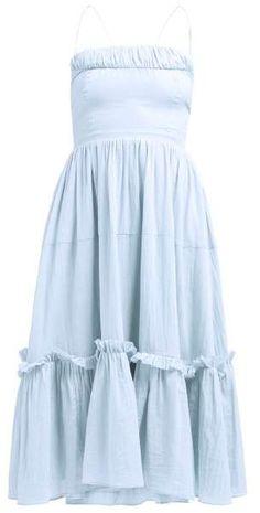Loup Charmant - Alghero Tie Back Cotton Dress - Womens - Blue Beach Wear Dresses, Cute Dresses, Summer Dresses, Maxi Dresses, Ladies Dresses, Dress Outfits, Fashion Dresses, Cute Outfits, Boho Dress