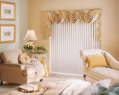 Panel curtains over the vertical blind valance. Description from pinterest.com. I searched for this on bing.com/images