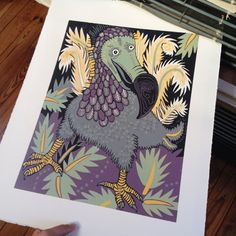 Dodo colorful reduction woodcut reminds people of alice in wonderland by…