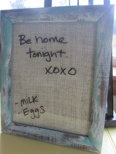 Dry erase shabby chic..BURLAP message board Turquoise