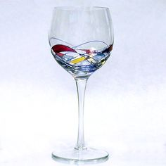 Painted Wine Glasses | The Galleria White Wine Glass is a handmade, hand painted wine glass ...