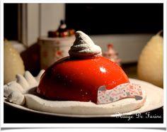 Le bonnet du Père Noël ou bombe glacée (ou pas!) aux cerises Pudding, Desserts, Blog, Cherry Fruit, Cloud, Tailgate Desserts, Deserts, Custard Pudding, Puddings